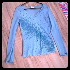 Sheer long sleeve glitter accent top